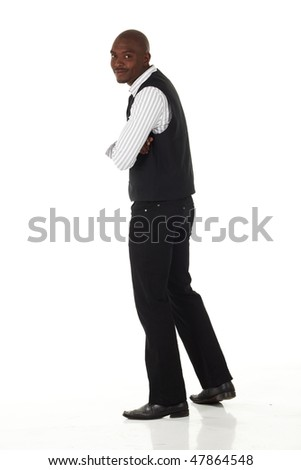 Young black African businessman in semi-formal clothes on a white background in various poses and with various facial expressions. Not Isolated, - stock photo