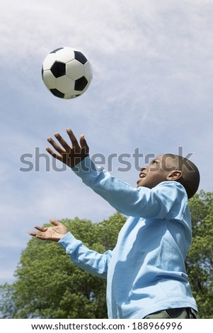 Young black boy outside - stock photo