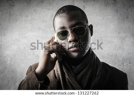 young black businessman calling - stock photo