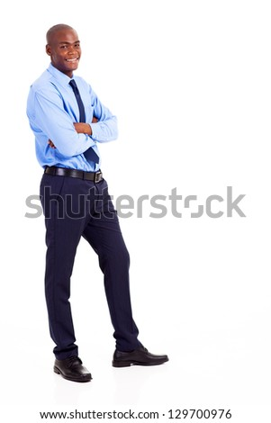 young black businessman full body portrait isolated on white - stock photo