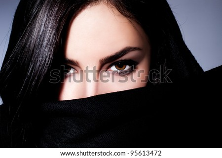 young black hair woman beauty portrait, close up - stock photo