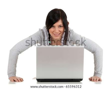 young black hair woman with laptop