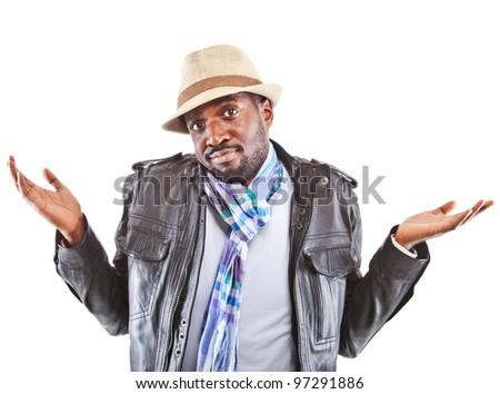 Young black man amazed - isolated over white background. - stock photo