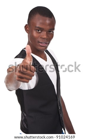 young black man doing thumb up and smiling - stock photo