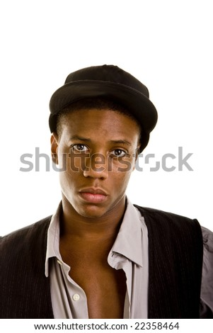Young black man dressed casually wearing a cap and looking at camera