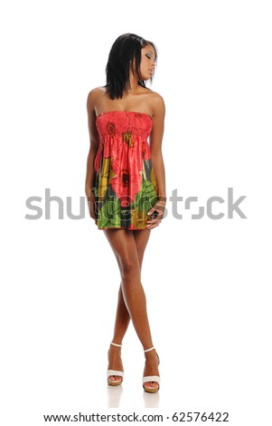 Young black woman fashion model posing isolated on a white background