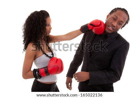 Young black woman fighting with her boyfriend, over white background - Black people - stock photo