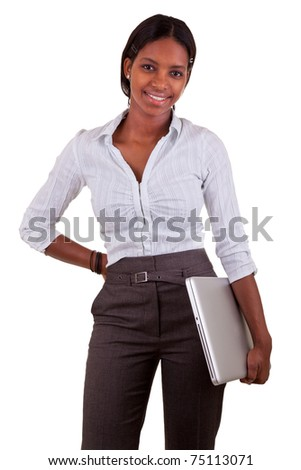 Young black  woman holding a laptop - stock photo