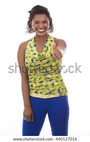 young black woman wearing casual outfit on white isolated background - stock photo