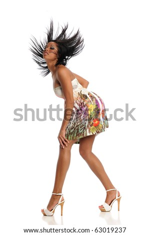 Young Black Woman with flying hair isolated on a white background