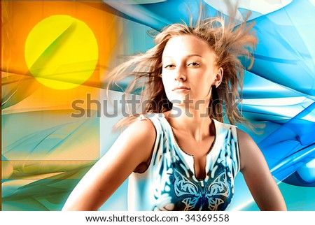young blond beauty with hair waving on the wind - stock photo