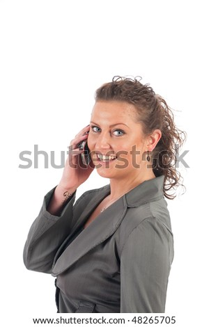Young blond business woman with her mobile phone