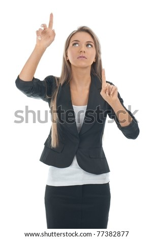 Young blond businesswoman pressing the touchscreen button. Isolated on white. - stock photo