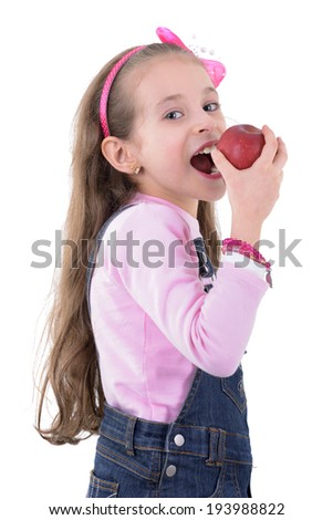 Young Blond Girl Eating Apple Isolated on White Background