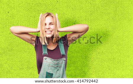 young blond girl happy expression - stock photo