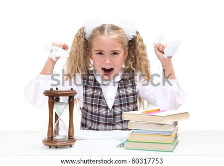 Young blond girl screams loudly at camera