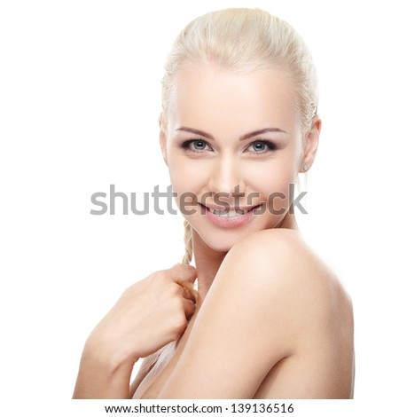 Young blond lady with a beautiful hair on white background - stock photo