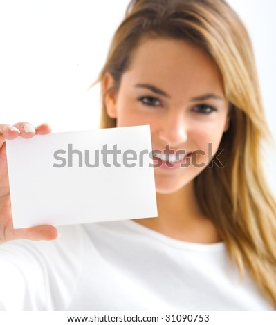 young blond portrait girl with withe card - stock photo