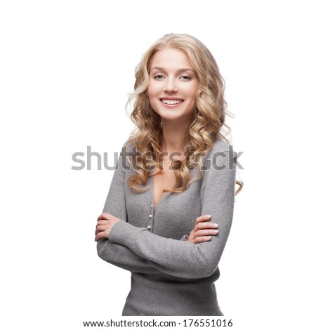young blond smiling casual woman isolated on white - stock photo