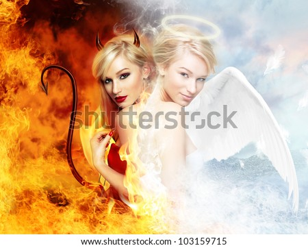 Young blond woman as half devil half angel