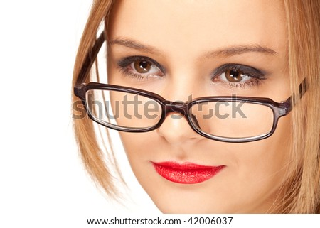 young blond woman in glasses isolated on white - stock photo