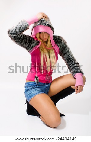 young blond woman in posing - stock photo