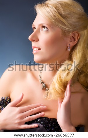 Young blond woman romantic portrait. - stock photo