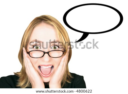 Young blond woman with large green eyes in glasses holding her head in her hands and screaming with joy, has a speech bubble - stock photo