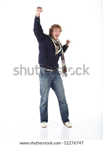 Young blonde adult caucasian man in casual clothes and scruffy beard on a white background - Arms out in Victory. Not Isolated