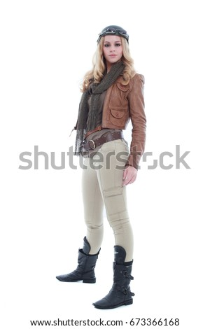 Young Blonde Adventure Woman Steampunk Outfit Stock Photo ...