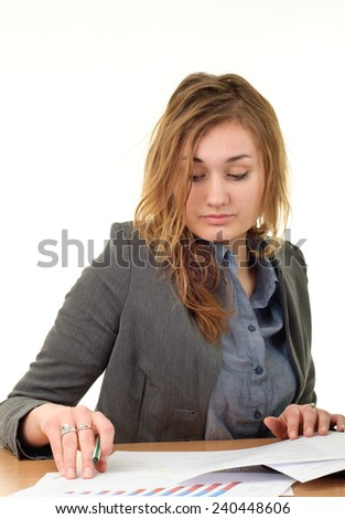 Young blonde beauty business woman working at office - stock photo