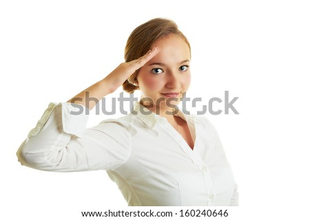 Young blonde girl with a beautiful smile saluting as military isolated on white. - stock photo