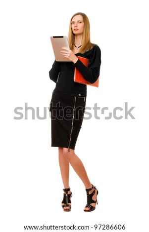 Young blonde in black with the pda - stock photo