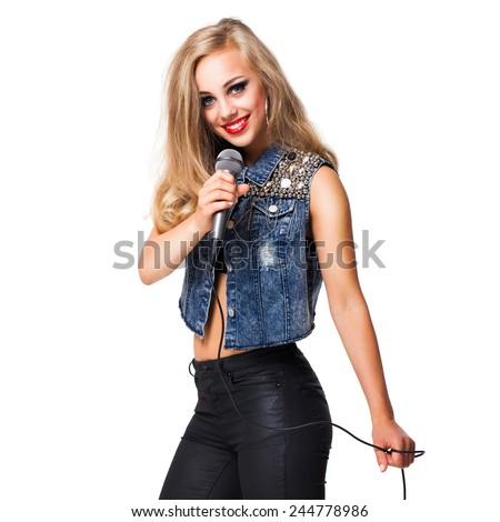 young blonde singer - stock photo