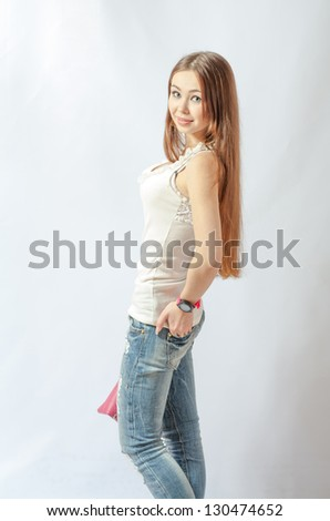 young blonde wearing jeans jacket torso shot - stock photo