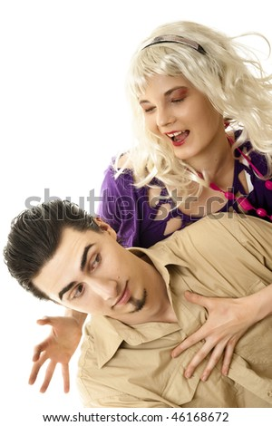 Young blonde with her boyfriend against white background - stock photo