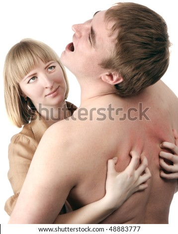 young blonde woman passionately embraces - stock photo