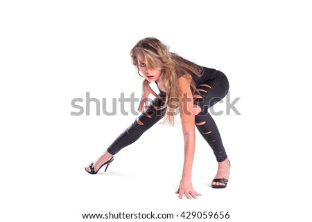 Young blonde woman posing isolated on white background - stock photo