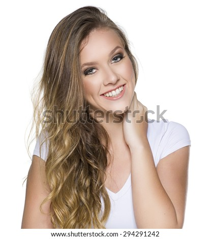 Young blonde woman presenting with her hands on white background - stock photo