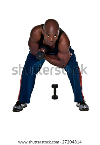 Young Body Builder African American doing exercise in the with a 10 pound weight. - stock photo