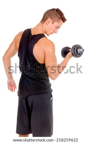 young bodybuilder doing exercises with dumbbells isolated in white background