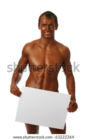 Young bodybuilder showing a copy space bank page isolated on white