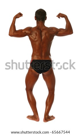 Young bodybuilder showing his biceps isolated on white