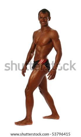 Young bodybuilder showing his muscles isolated on white - stock photo
