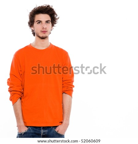 young bored caucasian man portrait in studio on white background - stock photo