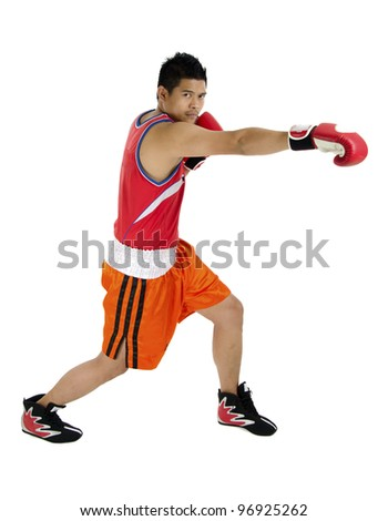 Young boxer punch in full over on white background. - stock photo