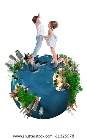 Young boy and girl happily jumping in a world map ecology oriented - stock photo