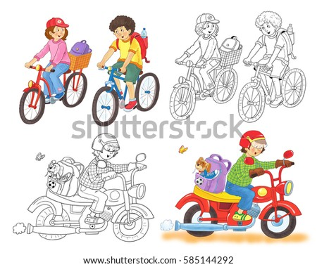 young boy and girl riding bicycles a young man on the bike coloring page