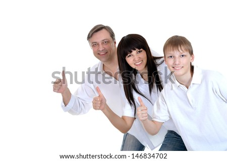 young boy and his parents in white T-shirts isolated on white background - stock photo
