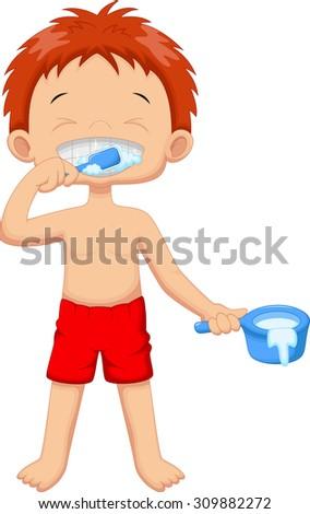 Young boy brushing teeth - stock photo